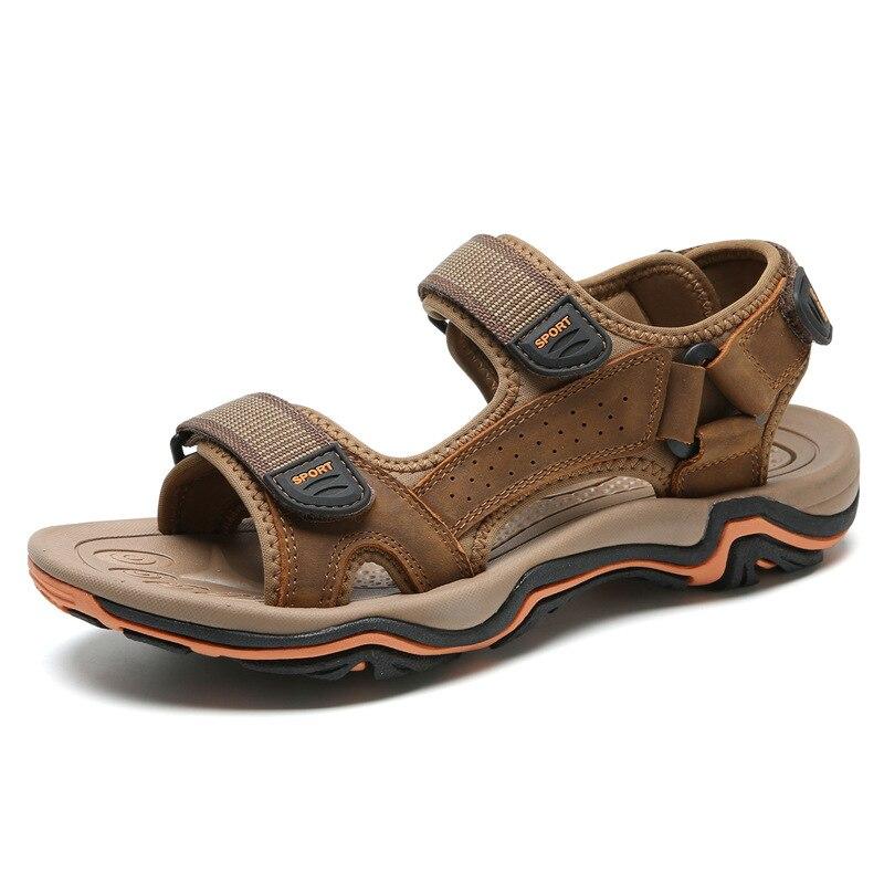 Nouveaux hommes sandales en cuir couche supérieure chaussures de plage anti-dérapant décontracté sandales en cuir