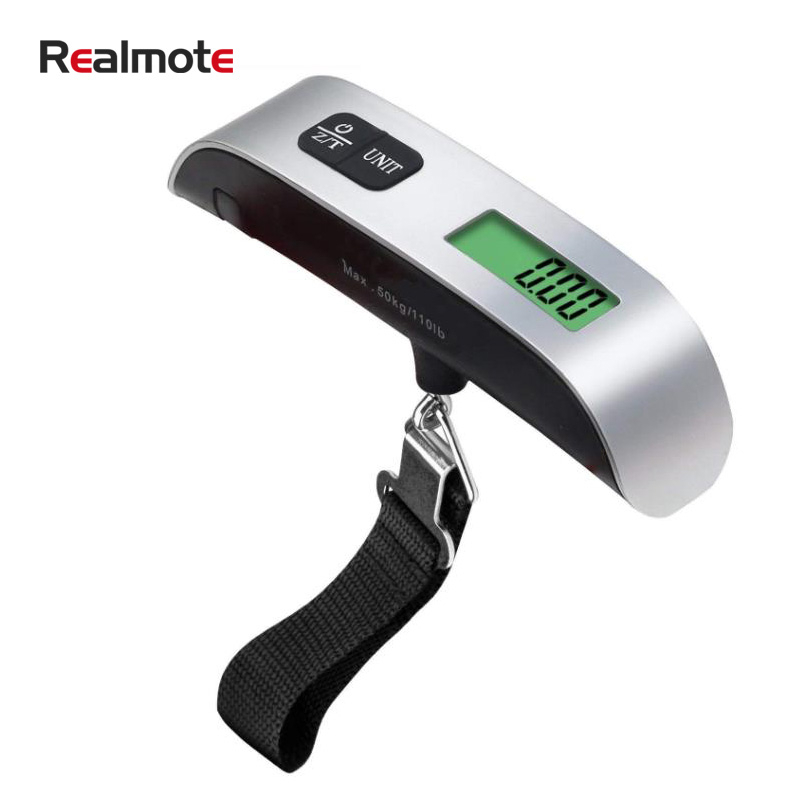 Realmote Luggage Scale 110lb/50kg Electronic Digital Portable Suitcase Travel Weighs Baggage Bag Hanging Balance Weight LCD