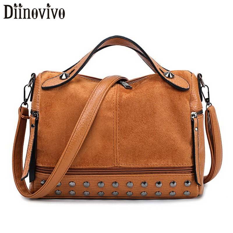 DIINOVIVO Women Suede Rivet Handbags Vintage Large Capacity Shopping Bag Casual Tote Female Shoulder Soft Bolsa WHDV1250