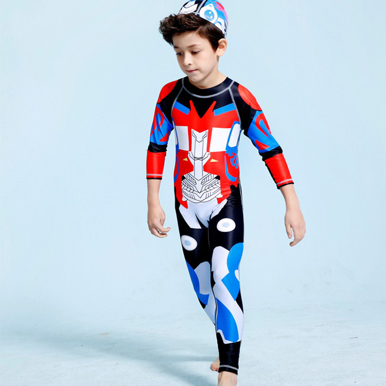 INS KID'S Swimwear BOY'S Big Boy One-piece Long Sleeve Trousers Transformers Diving Suit Industry Boy Swimwear