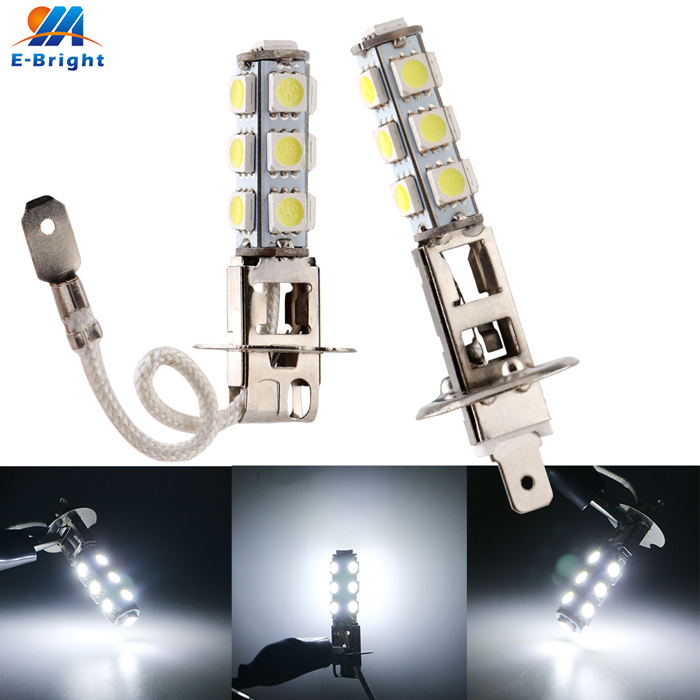 2pcs H1 H3 5050 13 SMD 12V LED 160LM 8000K Car Headlights Fog Lamps Auto Bulbs Lamp Fog Lights White Bulbs Car Styling