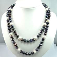 HUGE 11-10MM NATURAL TAHITIAN BLACK WHITE PEARL NECKLACE 925 silver MARK 36INCH(China)