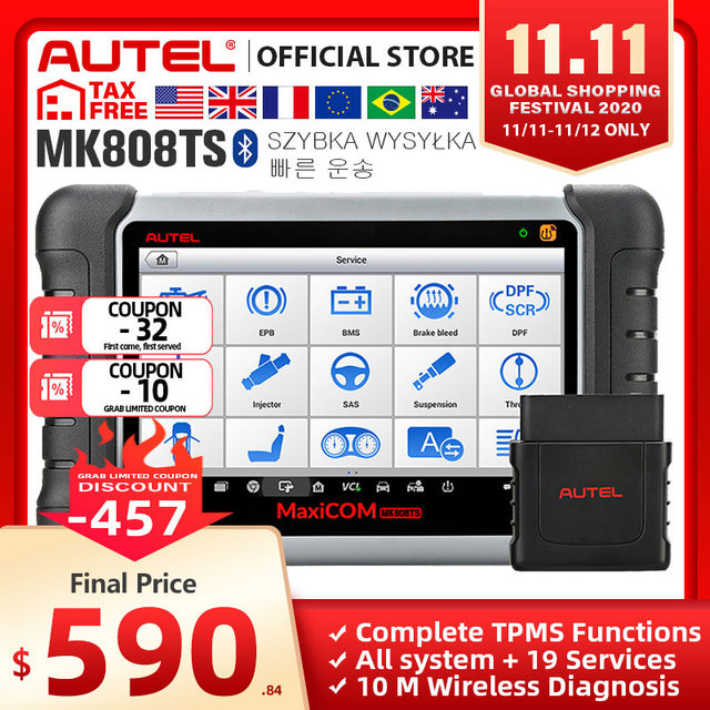 Autel MaxiCOM MK808TS OBD2 Bluetooth Scanner Car Diagnostic Tool OBD 2 Code Reader Programing TPMS Sensor PK DS808 MK808 TS608