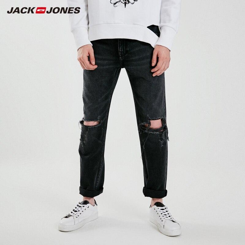 JackJones Men's Straight Fit Ripped Black Crop Jeans Menswear streetwear  219132510