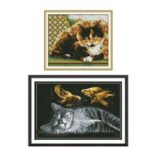 Joy Sunday Counted Cross Stitch Cotton DMC Cat Patterns Cross Stitching Printed Canvas Embroidery Kit DIY Needlework Aida Fabric mnls diy dmc 3d cross stitching 0088