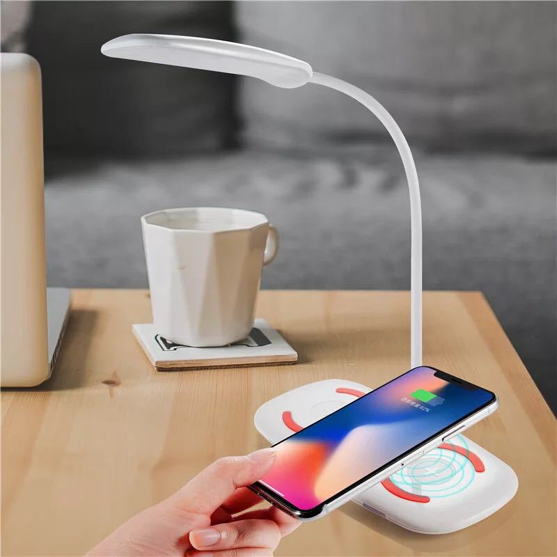 QI Wireless LED Table Desk Lamp For IPhone Xs/X/XR/8 For Samsung S10/9/8/7/6 For Xiaomi Huawei Phone Fast Charger Charging Dock