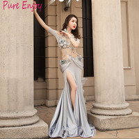 Profession Custom Made Children's adult Belly Dance Set New luxury diamond Bra Long Skirt Silk sexy fishtail dress set Set