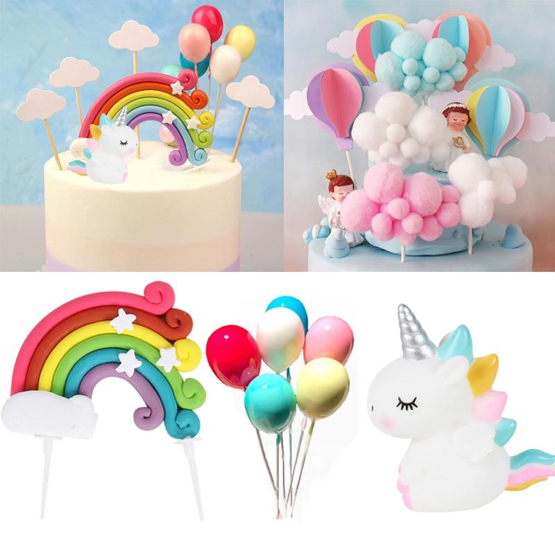 Unicorn Cake Topper Rainbow Cloud Balloon Cupcake Topper Kids Birthday Cake Flags Decor Baby Shower Girl Favors Cake Decorating