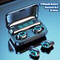 Беспроводные Bluetooth наушники с микрофоном спортивные водонепроницаемые беспроводные наушники 9D HiFi стерео сенсорное управление музыкальные...