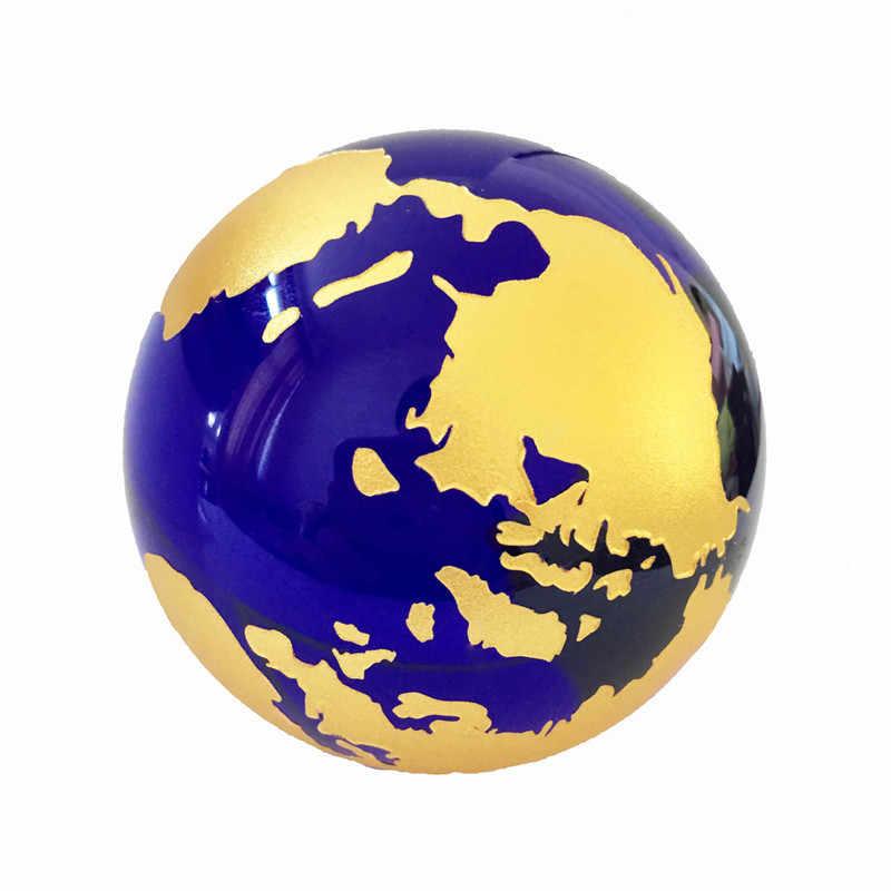 60mm niebieski złoty kryształ Model ziemi Feng Shui szkło globalny kryształowej kuli kula ozdoby figurki do dekoracji domu