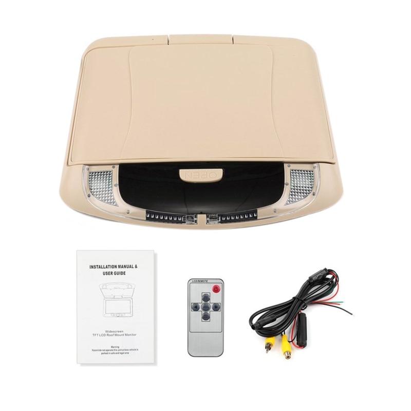 9 дюймов Автомобильный Hd цифровой ЖК-дисплей на крыше цветной ЖК-дисплей флип-экран потолочный дисплей - Цвет: Beige