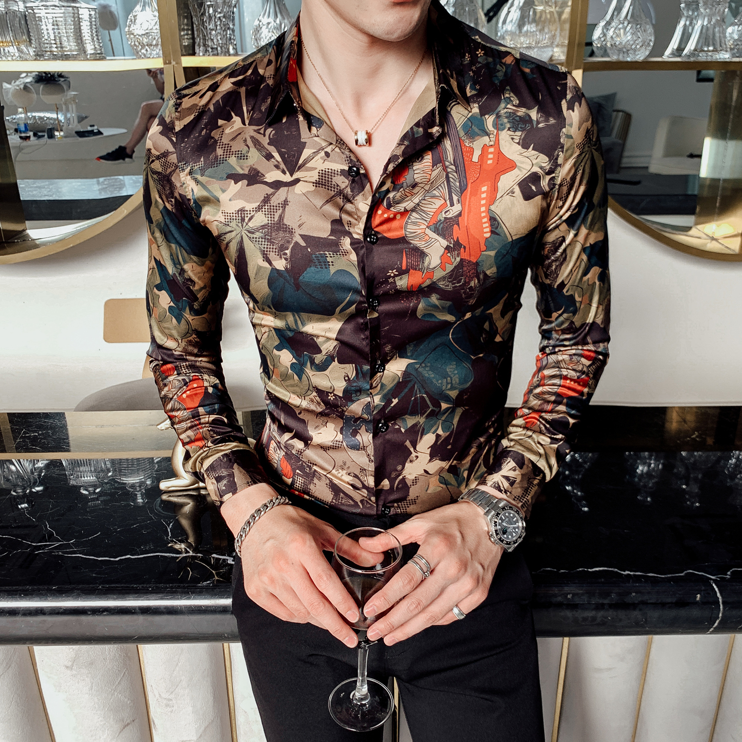 Leaf Print Shirt Men Flower Shirt Casual Shirts Slim Fit Party Dress Shirt Fashion 2019 Autumn Long Sleeve Digital Print Men 4xl