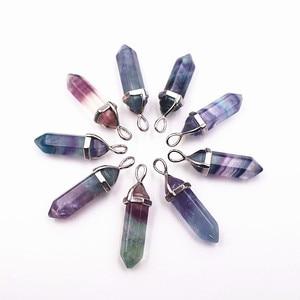 Hematite Howlite Turquoises Fluorite Necklaces Crystal Pendants Suspension Natural Gem Stone Quartz Bullet Hexagonal Pendulum(China)