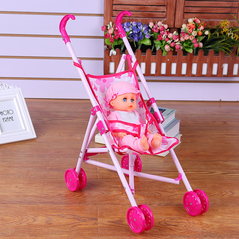 New Creative Simulation Doll Trolley Funny Girl Toy Children Foldable Hand Push The Doll Stroller Christmas
