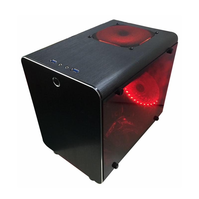 Computador pequeno mini chassi de ar para placas-mãe itx vertical atx gabinete todo-alumínio quadro à prova de poeira