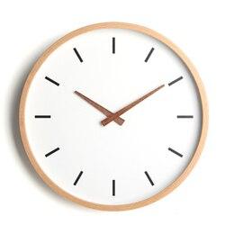 Nordic prosty zegar ścienny drewno okrągły wyciszenie zegar pokojowy wyciszenie sypialnia zegary kwarcowe dekoracyjna tapeta do domu zegar C5T116