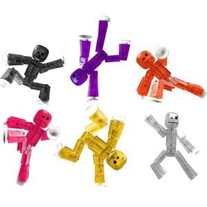 Image 1 - 1 sztuk przyklejony Robot zabawki figurki akcji z Sucker plastikowe chłopca Playhouse śmieszne odkształcalne Stickbot zabawki dla dzieci prezenty bożonarodzeniowe