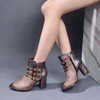2019 nouvelles bottes à talons hauts chaussures femmes en cuir véritable Rivets personnalité confortable européenne et américaine bottines