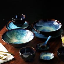 2 4 6 osoba zestaw obiadowy japoński zestaw misek domowe ceramiczne zastawy stołowe zestaw glazury kolorowy paw wzór miska zestaw talerzy tanie tanio Japan style Porcelany Pod ramą Stałe Ce ue Lfgb Ekologiczne Ceramic Tableware Set Oddzielne produkty