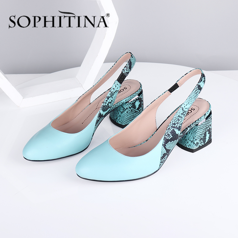 SOPHITINA High Quality Pumps Women Comfortable Thick Heels Fashion Pointed Toe Pumps Snake Pattern Slingbacks Shoes Women SC711