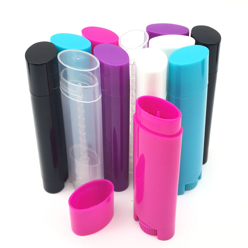 100Pcs 4.5g Empty Lip Balm Tubes Lipstick Containers DIY Cosmetic Tube Oval Flat 0.15oz Bottle