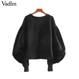 Image 2 - Vadim נשים שיק טלאי חולצות רפוי פאף שרוול O צוואר סוודרי להאריך ימים יותר אופנתי חולצות HA586