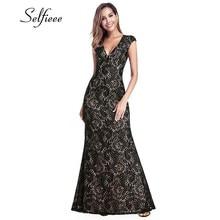 купить Vintage Black Lace Mermaid Women Dresses Deep V-Neck Sleeveless See-Through Bodycon Maxi Summer Dresses Zomerjurk Dames 2019 дешево