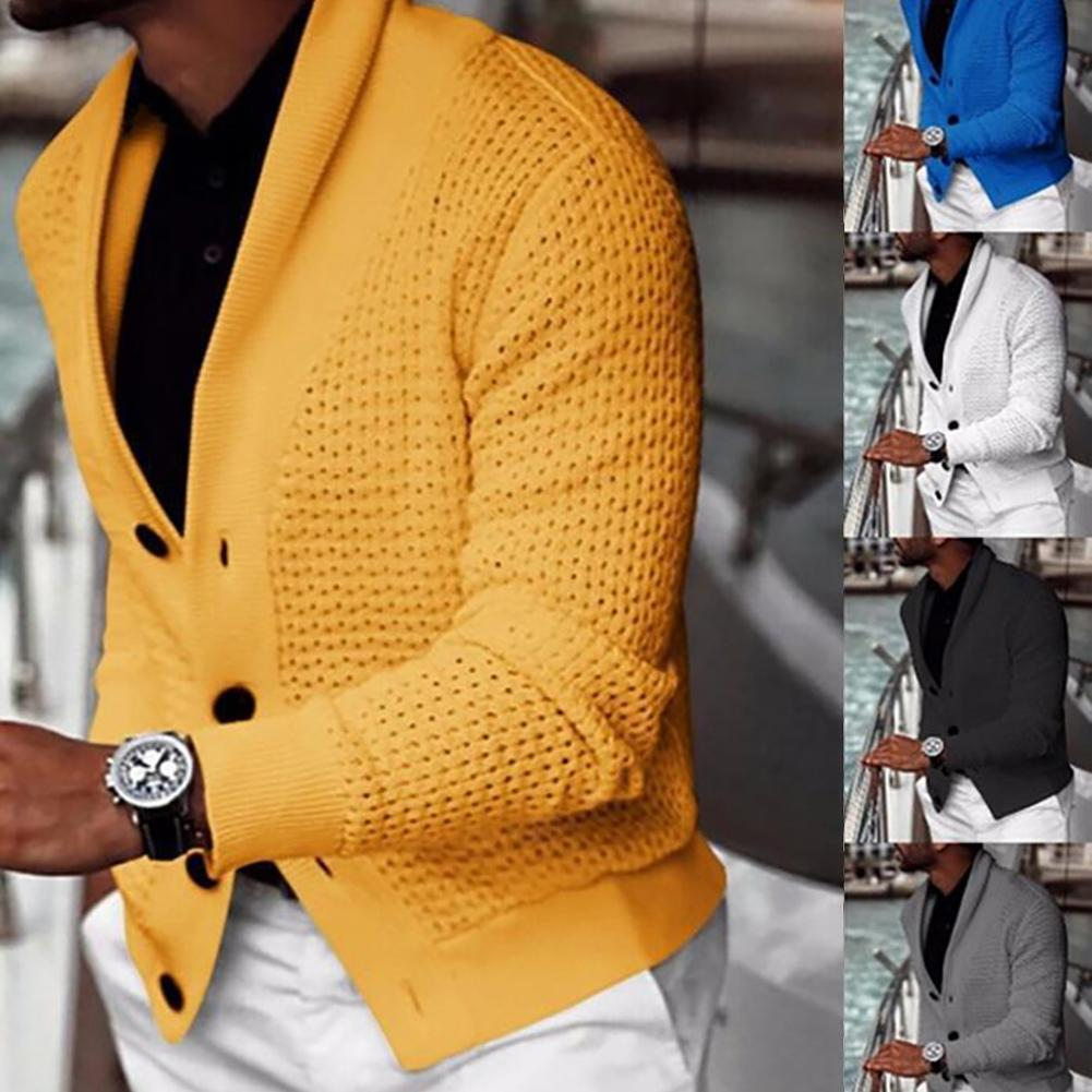 Autumn Men Solid Color Hollow Cardigan Buttons Coat Warm Knit Sweater Jumpers 1
