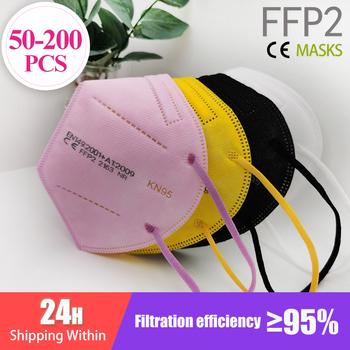 50-200 sztuk FFP2 Mascarillas CE maska czarny KN95 maska 5 warstw maska KN95 filtr Respirator różowy dorośli KN95 filtr ffp2mask tanie i dobre opinie 360° F H Chin kontynentalnych EN 149-2001 + A1-2009 Włókniny