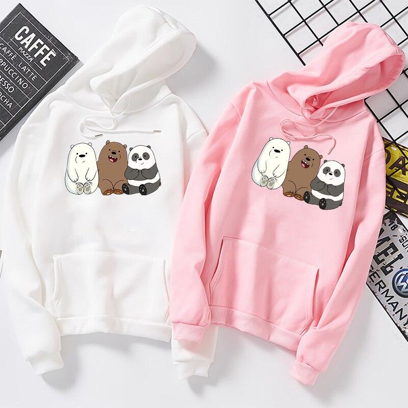 Anime We Bare Bears Printed Hoodie Plus Velvet Sweatshirts Coat Unisex Long Sleeve For Autumn Winter Streetwear Pullovers Mujer