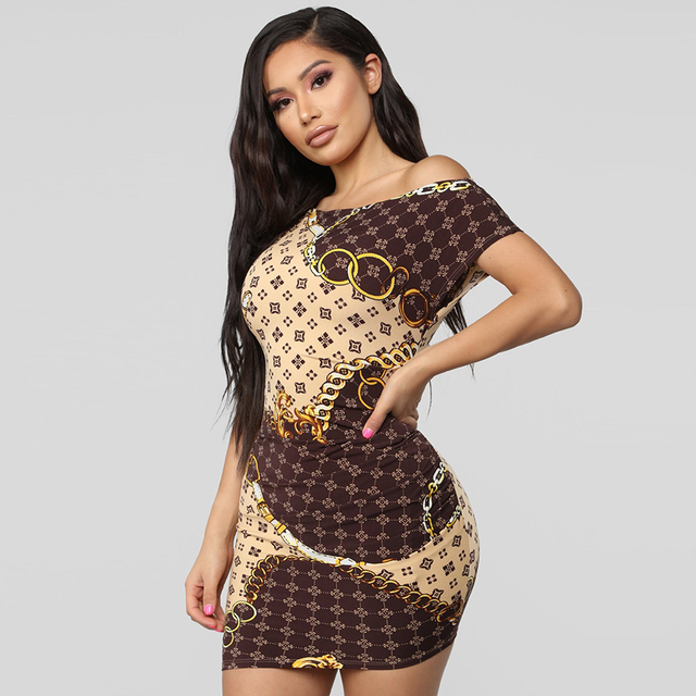 New 2019 fashion explosion section oblique necklace gold chain print sexy tight dress casual ladies short dress 1
