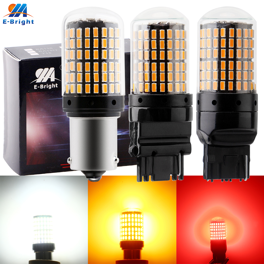 2x Amber Orange 1156 P21W 3157 BA15S 15SMD 2835 LED Bulbs For Turn Signal Lights