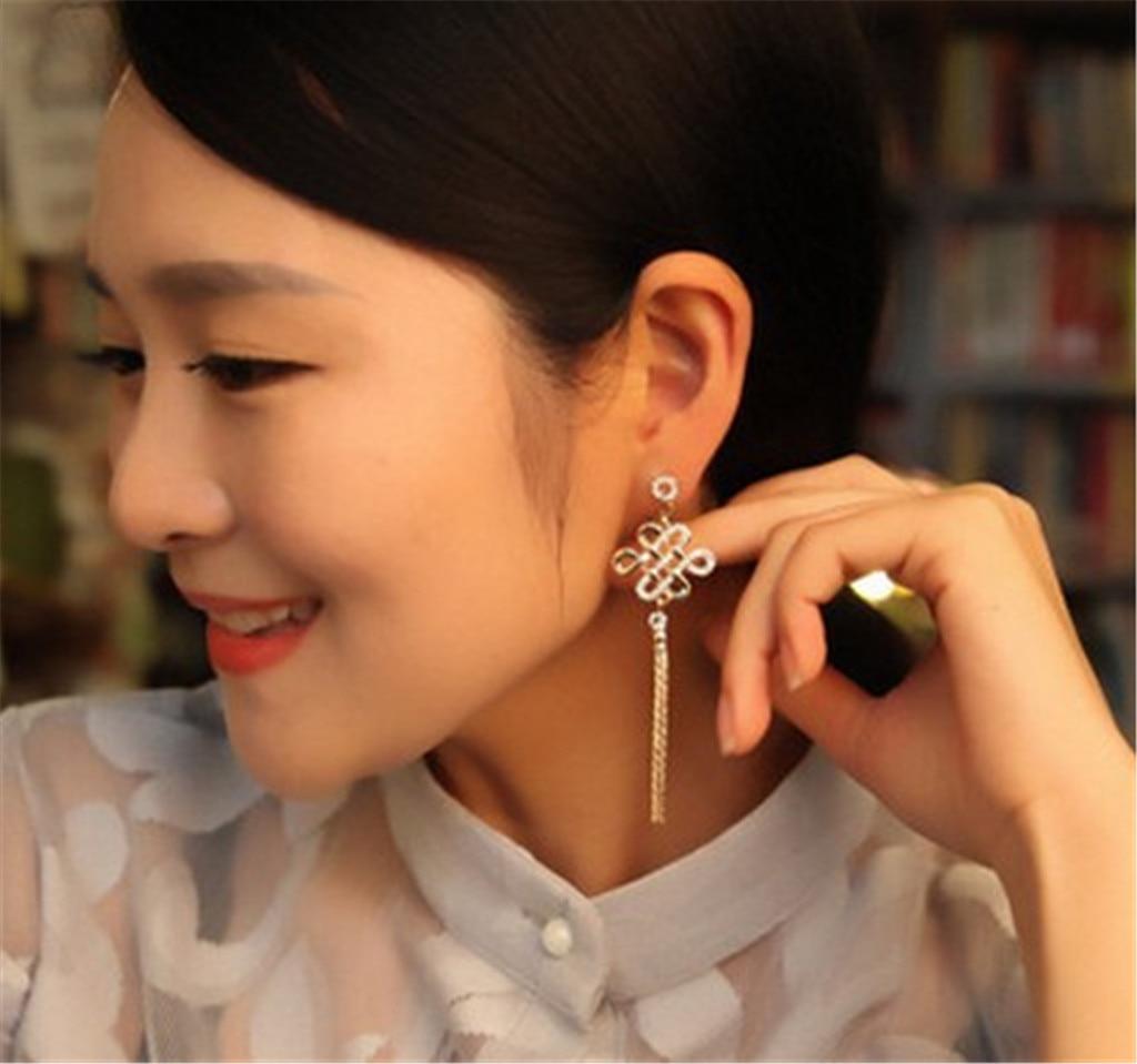 2020 современные модные женские серьги с китайским узлом из циркония, элегантные женские серьги для свадебной вечеринки, модные ювелирные из...