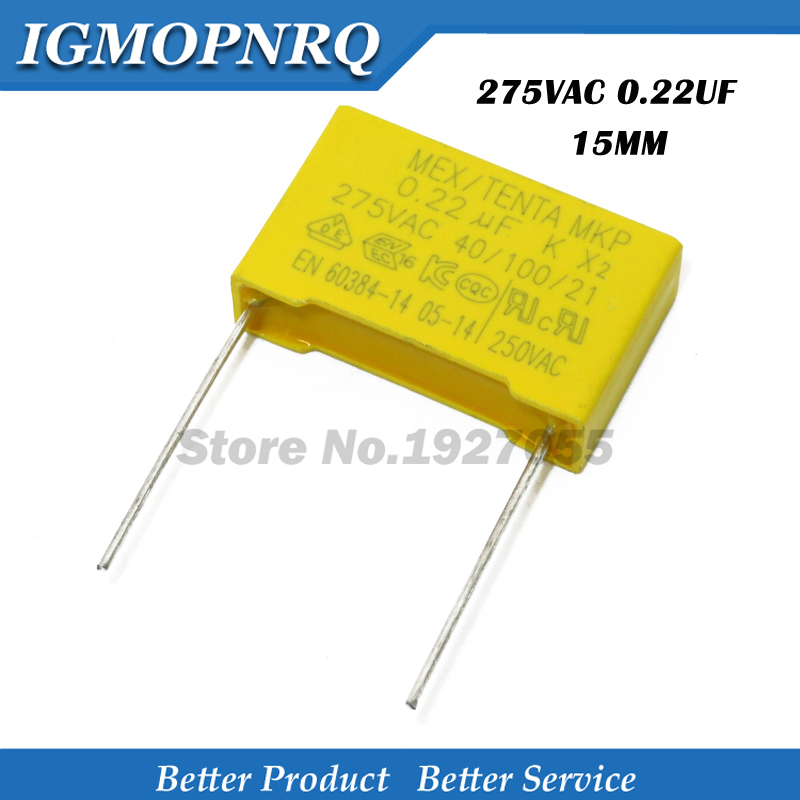 10pcs 220nF capacitor X2 capacitor 275VAC 220NF Pitch 15mm X2 Polypropylene film capacitor 0.22uF image