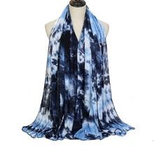 2021 New Women Muslim Scarf Tie-dye Jersey Hijab Headscarf Female Head Wrap Scarves Turban Foulard Femme Musulman Islamic Shawl