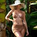 ANJAMANOR 3 Stück Bikini Set Sexy Sommer Strand Badeanzug Frauen Badeanzug Micro Bikini Strand Cover Up Mesh Mini Röcke d85-BC10