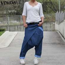 Frauen Casual Denim Harem Hosen VONDA Mode Sommer Breite Bein Hosen Böhmischen frauen Hosen Plus Größe Strand Streetwear 5XL