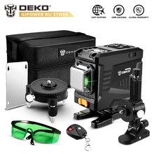 DEKO – niveau Laser 3D 12 lignes à nivellement automatique, lignes horizontales et verticales, avec télécommande, haute précision