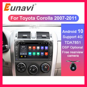 Eunavi 2 din Android 10 TDA7851 car dvd multimedia for Toyota Corolla 2007 2008 2009 2010 2011 GPS stereo radio PC touch screen(China)