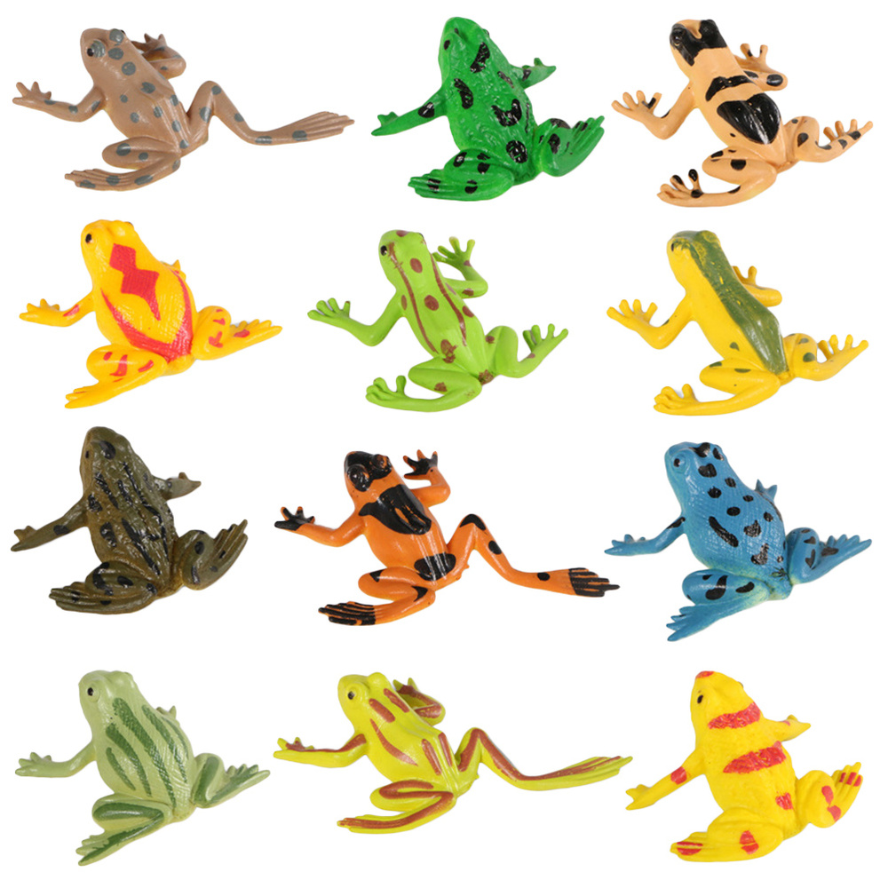 12pcs Imitation Frog Model Anxiety Relief Relaxation Plaything Simulated Frog Shape Toy Educational Plaything For Kids Children