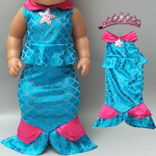doll clothes for 43cm born Baby Mermaid fishtail dress with crown outfit set 18 inch girl children gifts