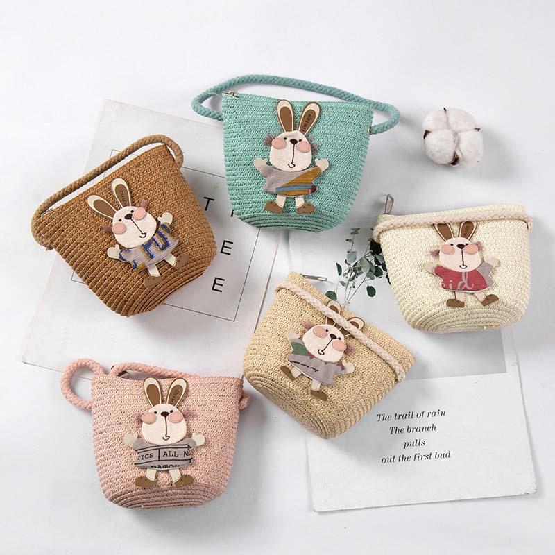 2019 Little Girls Mini Handbag Handmade Vintage Weaving Straw Cute Cartoon Decoration Shoulder Bag Party WML99