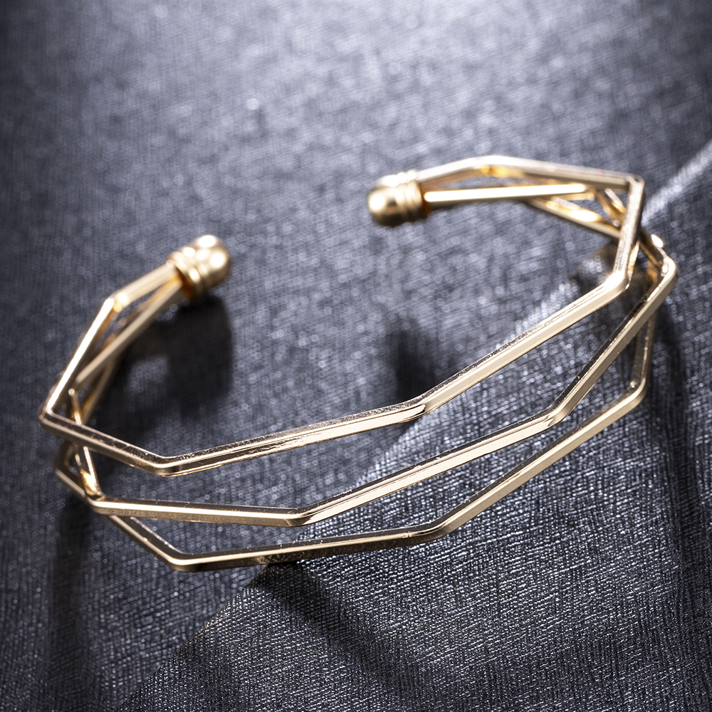 2020 NEW Gold Metal Alloy Arrow Link Chain Twist Bangle New Three Layer Romantic Open Cuff Bangles/Bracelet Set For Women