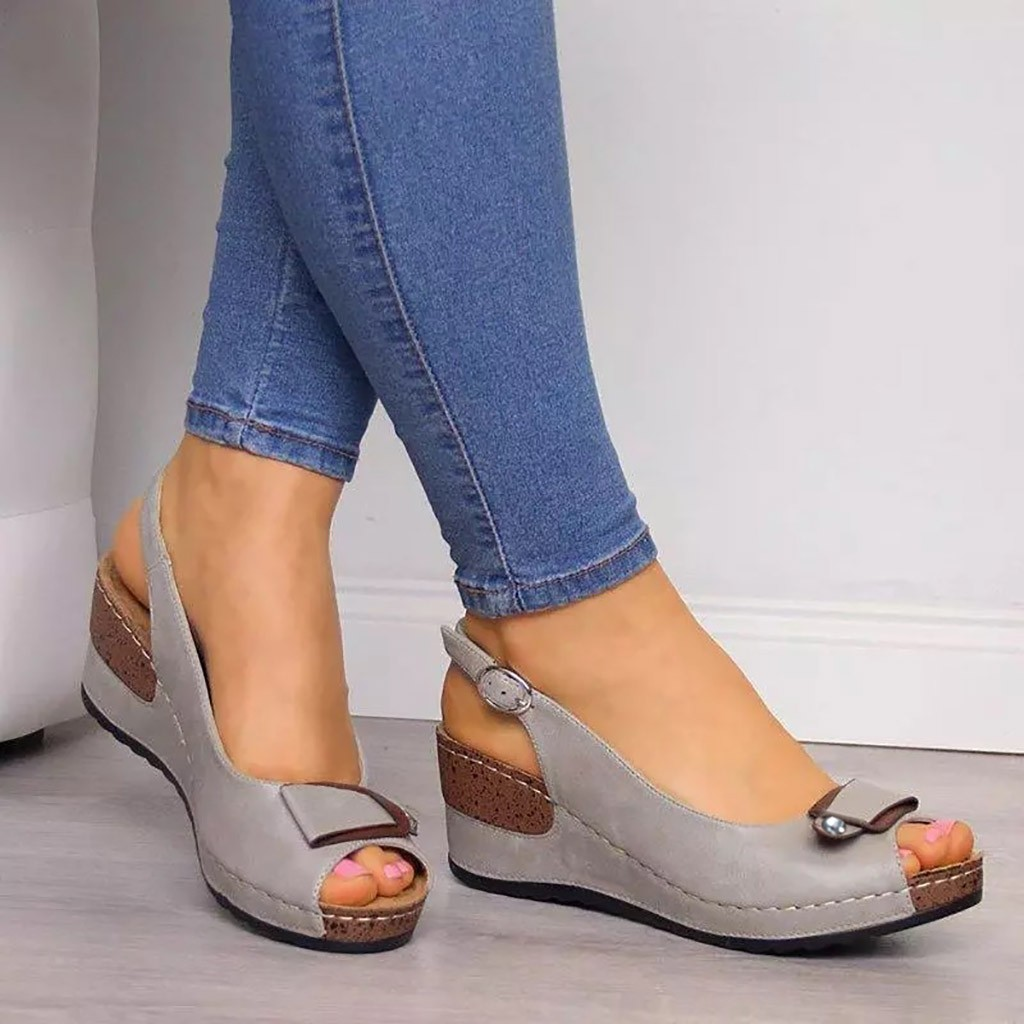 Rome Casual Sandals Women Wedges Sandals Pumps Ankle Buckle Open Toe Fish Mouth Med Summer Women Shoes Fashion 2019 Wedges Shoes