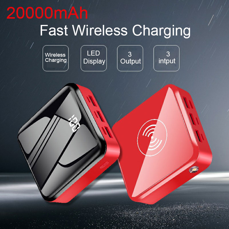 20000mah Qi Wireless Power Bank mini Power Bank mit <font><b>3</b></font> Eingang Ausgang 2.1A Schnelle Lade Led-anzeige Power Für handy image