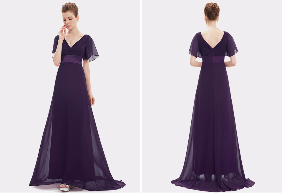 Glamorous Double V-Neck Ruffles Padded Evening Dress 1