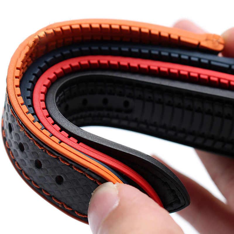 BEAFIRY 18mm 20mm 22mm 24mm orange תפרים סיבי פחמן + סיליקון שחור אמיתי עור אדום כחול orange להקת שעון רצועת ספורט