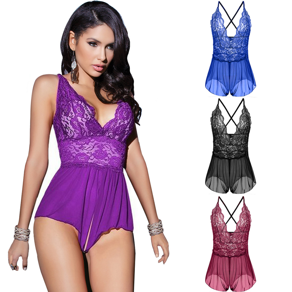 S M L XL XXL 3XL 4XL <font><b>5XL</b></font> 6XL Deep V Back Cross Band Open Crotch Hot Plus Size <font><b>Lingerie</b></font> Erotic <font><b>Lingerie</b></font> Lace Teddy image