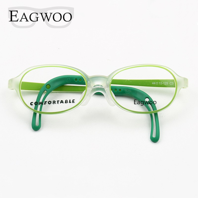 Image 1 - Eagwoo Silicon Soft Eyeglasses Children Optical Frame Little Boy Girl Glasses Temple with Adjustable String GreenMens Eyewear Frames   -