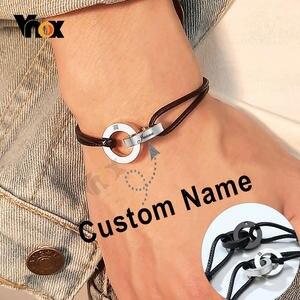 Vnox Custom Name Interlocked Circle Charm Bracelet for Men Women Adjustable Length Chain